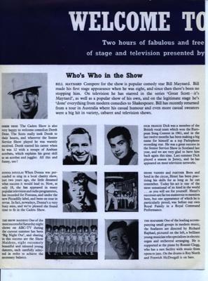 PROGRAMME CADETS SHOW BILL MAYNARD; MAR 1963; 196303BC