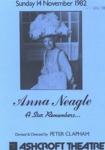 PROGRAMME THEATRE ANNA NEAGLE; NOV 1982; 198211FC