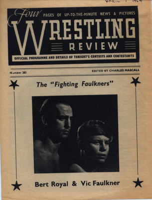 PROGRAMME WRESTLING VIC FAULKNER BERT ROYAL; APR 1964; 196404BI