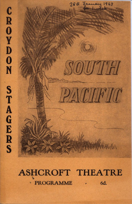 PROGRAMME CROYDON STAGERS SOUTH PACIFIC; JAN 1963; 196301BK