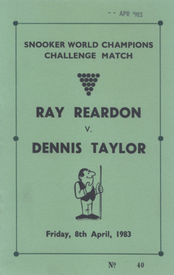 PROGRAMME SPORT RAY REARDON DENNIS TAYLOR; APR 1983; 196304FG