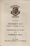 PROGRAMME OLD PALACE SCHOOL FOUNDERS DAY; OCT 1963; 196310BC