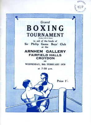 BOXING ARNHEM GALLERY SIR PHILLIP GAME BOYS CLUB; FEB 1970; 197002BB