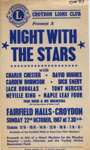 FLYER CROYDON LIONS NIGHT WITH THE STARS CHARLIE CHESTER CARDEW ROBINSON JACK DOUGLAS DICK EMERY; OCT 1967; 196710