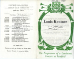 PROGRAMME LUNCHTIME CONCERT LOUIS KENTNER; JAN 1965; 196501BC