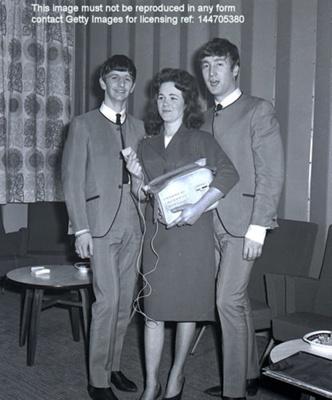 THE BEATLES AT FAIRFIELD HALLS, CROYDON, APRIL 25TH 1963; APR 1963; 144705380 backstage Ringo and John Beatles 25th April 1963 Fairfield Halls Croydon