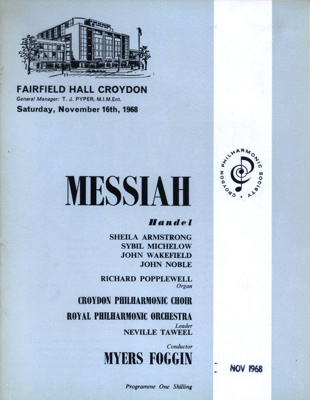 PROGRAMME CLASSICAL HANDEL MESSIAH CROYDON PHILHARMONIC CHOIR ROYAL PHILHARMONIC ORCHESTRA; NOV 1968; 196811BK