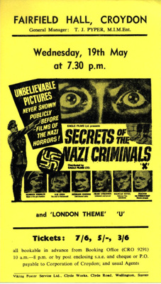 FLYER FILM SECRETS OF THE NAZI WAR CRIMINALS; MAY 1965; 196505BI