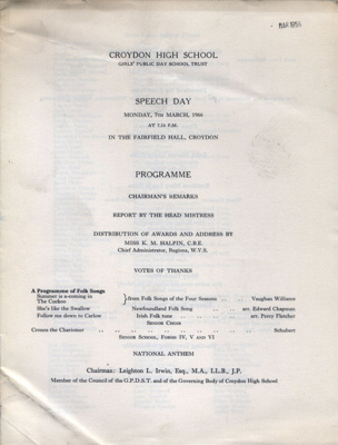 PROGRAMME CROYDON HIGH SCHOOL SPEECH DAY; MAR 1966; 196603BE