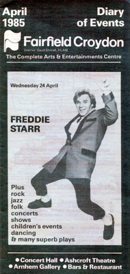 FAIRFIELD DIARY COVER FREDDIE STAR; APR 1985; 198504FA
