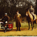Photograph of three Epping Forest staff.  Cheatle on Spartacus. 1975; LDQEH.2007.105