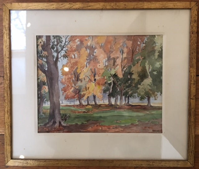 Painting. Watercolour. Framed. '316' on back. 'Autumn Wanstead Park Leytonstone E11' Signed 'B KIRBY'; LDQEH.2018.6