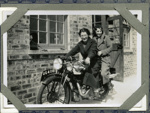 Martha MacLean and friend on a Triumph motorcycle; c.1935; 2011.287