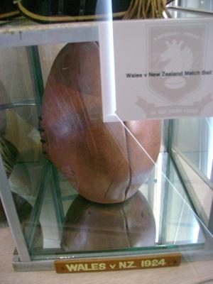 1924 All Blacks v. Wales leather match ball; 2012.7