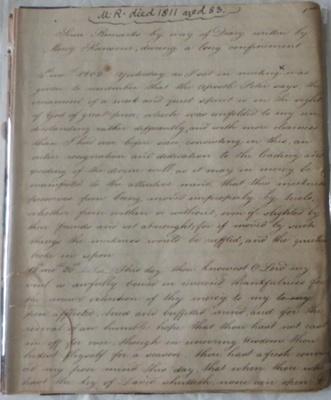 Mercy Ransom's Diary; Ransom, Mercy; 1802-1810; 618/1