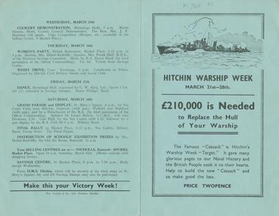 Hitchin Warship Week: leaflet, savings promotion; William Carling & Co Ltd; 1942; 7818