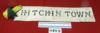 Banner/sign, 'Hitchin Town'; 1963; 11853