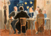 painting of cafe scene; Neave, Beatrice.; 1998.72.10