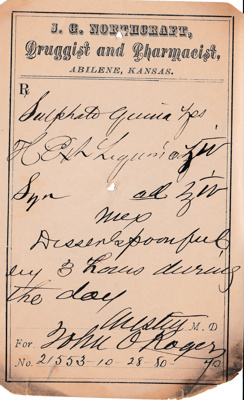 19th Century Original Prescriptions filled in a pharmacy in Abilene, Kansas, USA; Various Physicians practicing in Kansas in the Late 19th Century; October-November 1880; Fincham Collection 028
