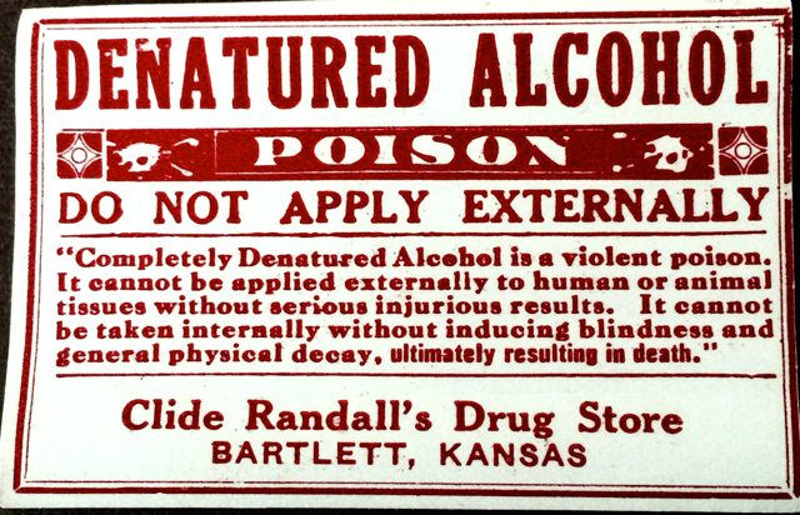 Denatured Alcohol Label