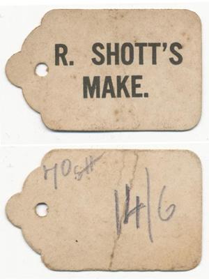'R Shott's Make' Tags; Unknown; 1907 - 1920; NTTUS0406