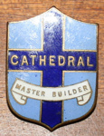 Badge [crest-shaped cathedral badge given as Sunday School prize]; Mayer and Kean; c.1954; WCSP.38