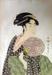 Japanese print of woman in green dress with purple fan; Kitagawa Utamaro (Japanese printmaker, active 1754-1806); n.d.; EC143JP