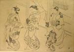 Japanese print of women walking in robes; Okumura Masanobu (Japanese printmaker active 1686-1764); n.d.; EC163JP