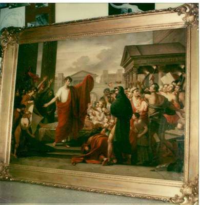 Mark Antony Delivering His Oration Over the Body of Caesar; Jacob Eichholtz (American painter, 1776-1842); Prior 1839; 1516