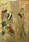 Japanese print of four figures and three dogs; Unknown; n.d.; EC93JP