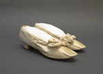 Silk satin shoes, decorated with bow; c. 1890; LDFAN2019.19 A&B