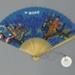 Wooden fan with paper leaf advertising BOAC airways; c. 1960; LDFAN2016.9