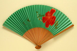 Advertising fan for Air New Zealand; c. 1965; LDFAN2007.25
