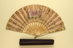 Folding Fan & Box; c. 1900; LDFAN2011.89.A & LDFAN2011.89.B