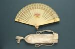 Brisé Fan & Pouch; c. 1920; LDFAN2012.23.A & LDFAN2012.23.B