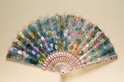 Folding fan painted with nasturtiums and honeysuckle Tutin, c. 1900; LDFAN2014.57