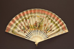 Reconstituted ivory folding fan with double silk leaf painted with a couple in 18th century dress. European, c. 1920; LDFAN1994.243