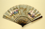 Black lacquer folding fan with double paper leaf decorated with chinoiseries. Probably French, c. 1790; LDFAN1999.33
