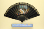 Folding Fan & Box; c. 1880/90; LDFAN2010.125.A & LDFAN2010.125.B
