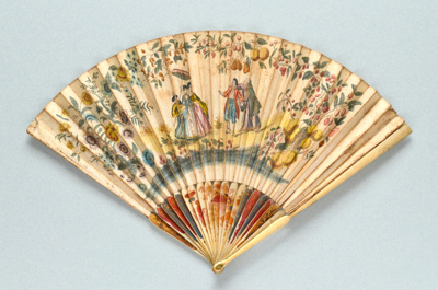 Folding fan with ivory sticks (probably Chinese) and printed paper leaf published by Martha Gamble English, c. 1740; LDFAN2014.166