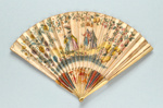 Ivory folding fan with printed paper leaf by Gamble Monture oriental, Leaf English c. 1730; LDFAN2014.166