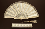 Folding Fan, Box & Travelling Box; c. 1860-70; LDFAN1997.13.1 & LDFAN1997.13.2