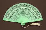 Green Plastic Brisé Fan; c.1990s; LDFAN1994.9