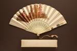 Folding Fan & Box; Box - 1870; LDFAN2003.281.Y.A & LDFAN2003.281.Y.B