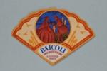 Fan shape advertising Bacioli Italy, c. 1990; LDFAN2013.75.HA