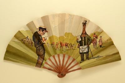 Advertising fan for Heidsieck Dry Monopole champagne; Auteuil racecourse; Eventails Chambrelent; Draeger; SEM; c. 1910; LDFAN1994.93