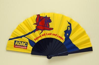 Advertising fan for ADAC Reisemagazin (Allgemeiner Deutscher Automobil Club); LDFAN2006.57