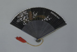 Black folding fan advertising Swiss Airc. 1960; LDFAN2014.18