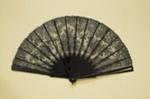 Tortoiseshell and Chantilly de Bayeux lace fan c. 1890 Brocade box Duvelleroy, Paris, c. 1890; c. 1890; LDFAN2008.28.A & LDFAN2008.28.B