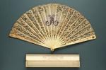 Folding Fan & Box; c. 1900; LDFAN2012.45.A & LDFAN2012.45.B